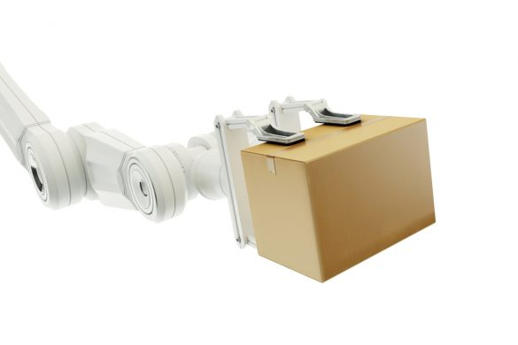 Robot arm holding a cardboard box on white background.